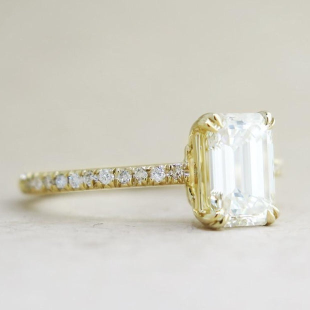 Alaia Unique Emerald Cut Diamond Engagement Ring - Ethical Ultra Thin Yellow Gold with Pave - Designed by Dana Chin and Radika Chin for Dana Walden Bridal - NYC - Side View