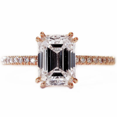 Alaia Emerald Cut Diamond & Rose Gold Engagement Ring with Thin Diamond Micro-Pavé Band