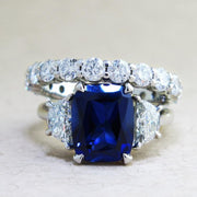 Blue sapphire & diamond engagement ring with diamond eternity band bridal set handmade in platinum - Alexandra & Constance