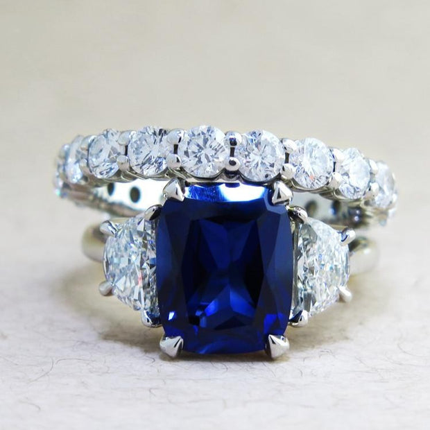 Alexandra 4 Carat Blue Sapphire Ring With Half Moon Side
