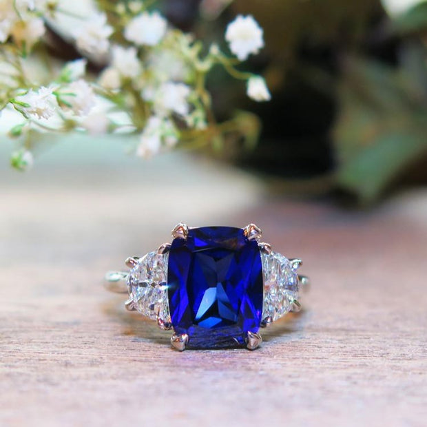 4 carat cushion cut blue sapphire engagement ring with lunette diamond accents in white gold - Alexandra
