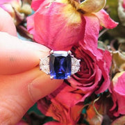 Three stone blue sapphire and diamond engagement ring with half moon accents in white gold - Alexandra