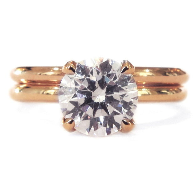 Astrid diamond solitaire bridal set in rose gold