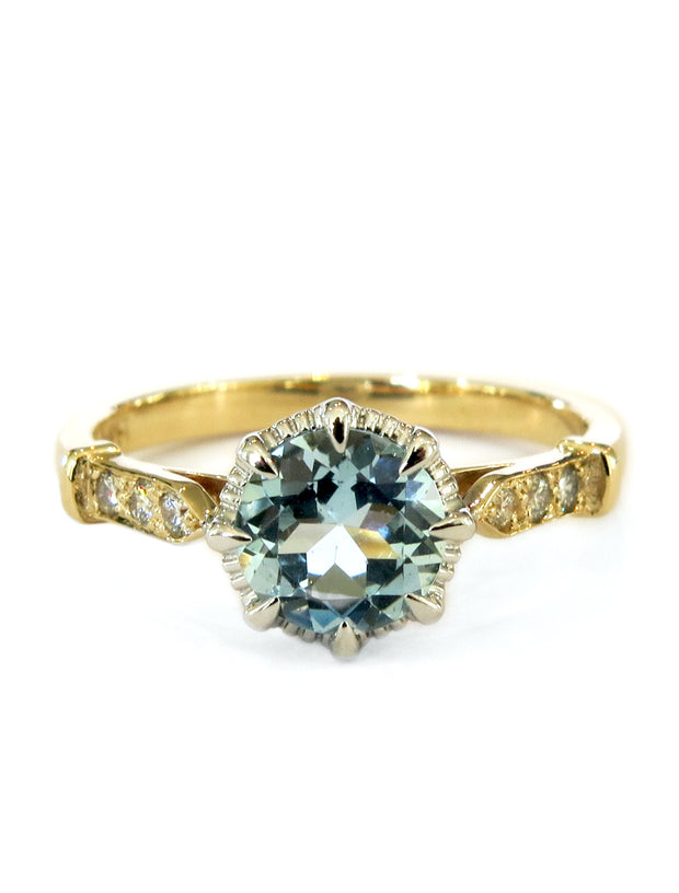 Unique aquamarine engagement ring in yellow gold with vintage inspired details & low profile - Aminta