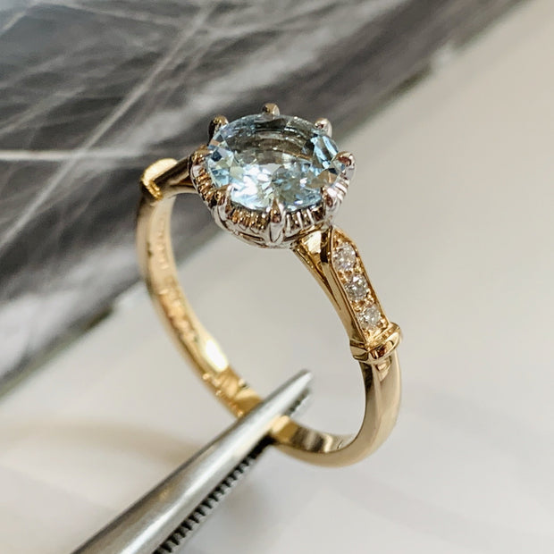 Unique aquamarine engagement ring in yellow gold with vintage inspired details & low profile side view - Aminta