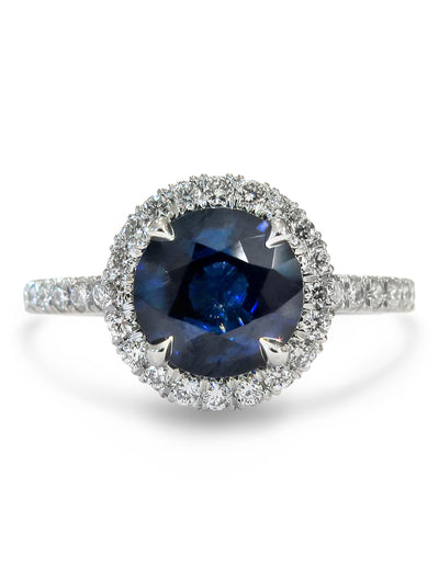Amorette 2ct Blue Sapphire Halo <br/> Engagement Ring