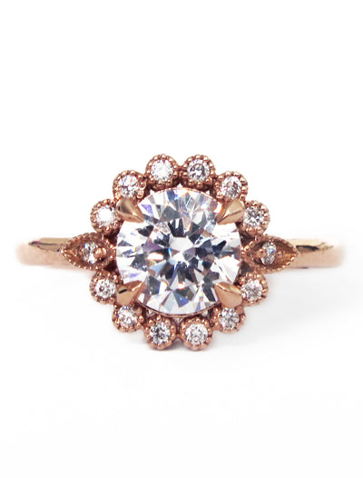 Anastasia 1ct Floral Diamond Halo <br/> Engagement Ring