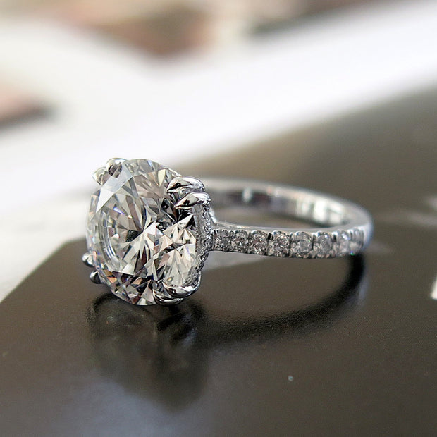 5 carat diamond ring profile with diamonds in band in platinum