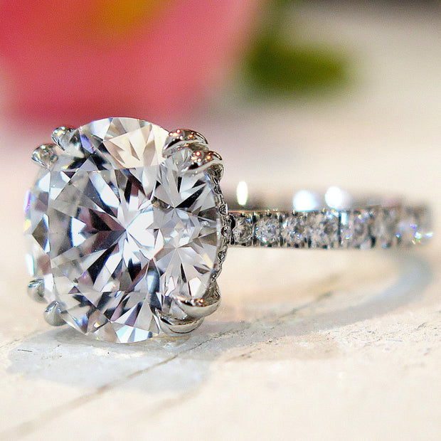 5 carat diamond engagement ring with diamonds in delicate thin band