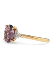 Mauve sapphire engagement ring with trillion side diamonds, side profile, by dana walden bridal