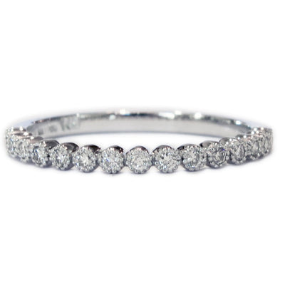 Arden Delicate Diamond Wedding Band with Vintage Accents by Dana Walden Chin & Rad Chin in NYC