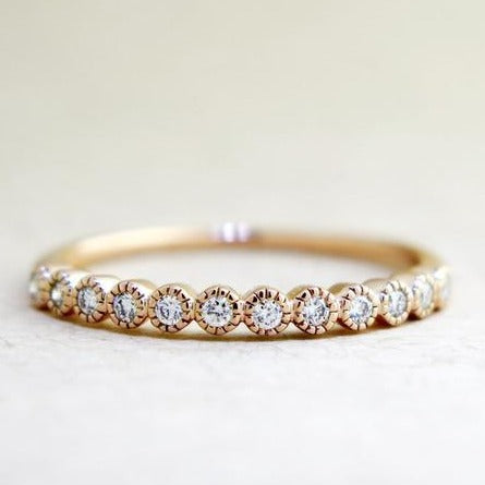 Arden Delicate Rose Gold & Diamond Wedding Band with Vintage Accents by Dana Walden Chin & Rad Chin in NYC