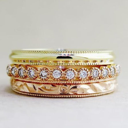Arden Delicate Diamond Band in Wedding Band Stack by Dana Walden Chin & Rad Chin in NYC