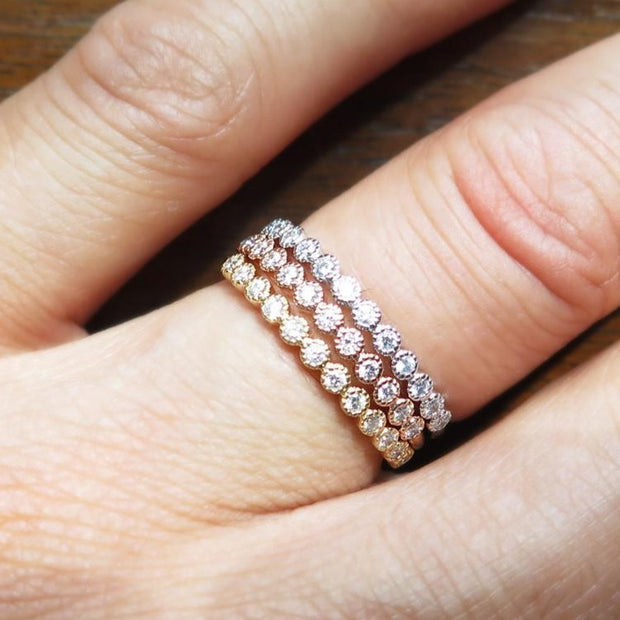 Arden Vintage Diamond Wedding Ring - Milgrain Details - Rose Gold, Yellow Gold and White Gold - Designed by Dana Chin and Radika Chin - Dana Walden Bridal - NYC - Shown On Hand Finger