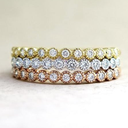 Stack of Arden Diamond Wedding Bands in Tri-Colors by Dana Walden Chin & Rad Chin in NYC