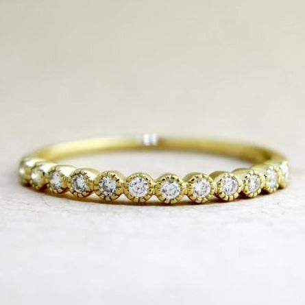 Arden Delicate Yellow Gold & Diamond Wedding Band with Vintage Accents by Dana Walden Chin & Rad Chin in NYC