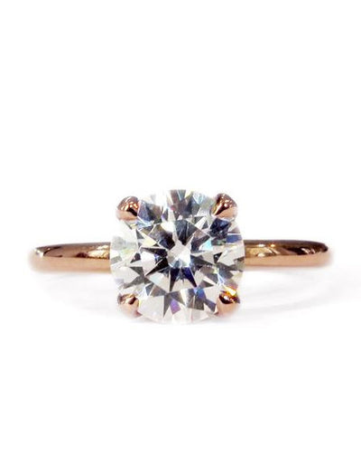 Astrid delicate diamond solitaire engagement ring in rose gold