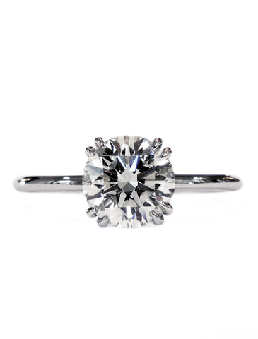 Delicate diamond solitaire in platinum with double claws custom designed in nyc - Bailey