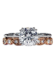 Unique diamond bridal set in platinum and rose gold custom designed in nyc - India & Bailey