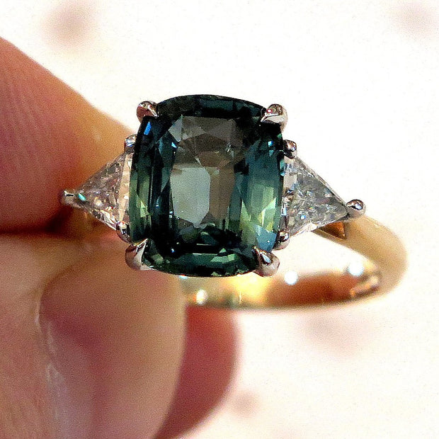 4 Carat Teal Sapphire 3 Stone Engagement Ring with Trillion Diamonds in Mixed Metal