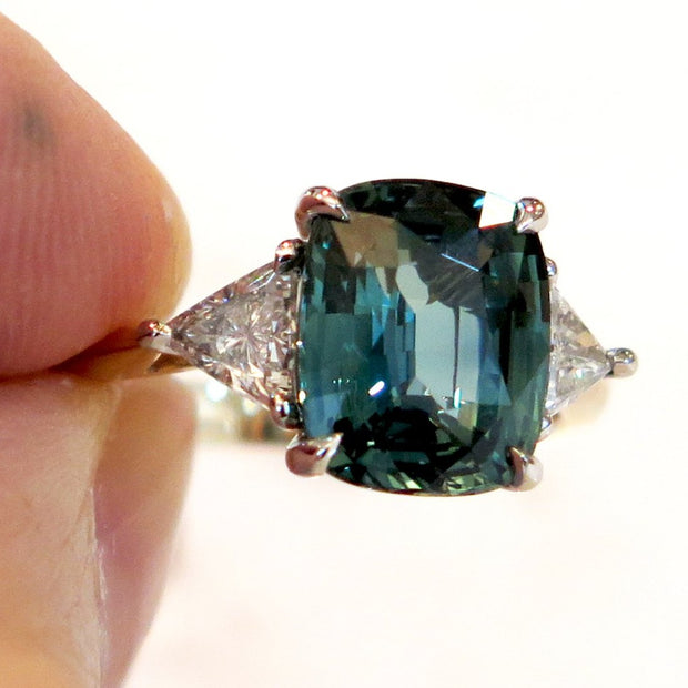 4 Carat Teal Sapphire with Trillion Diamonds 3 Stone Setting in Mixed Metal