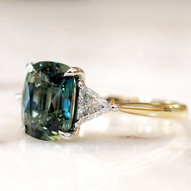 4 Carat Teal Sapphire Engagement Ring with Trillion Side Stone - 3 Stone Mixed Metal