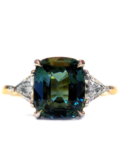 4 Carat Teal Sapphire Engagement Ring in 3 Stone Trillion Mixed Metal Setting