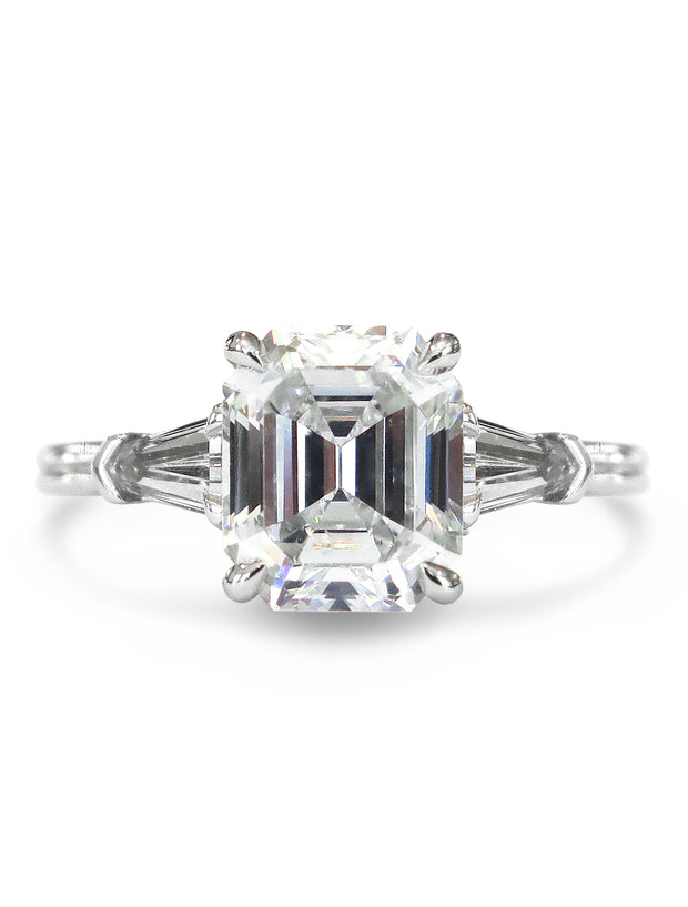 Calais asscher cut diamond engagement ring in three stone custom design with tapered bullet side diamonds in platinum