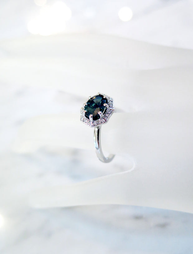Carlotta Geometric Sapphire Halo on Hand with Diamond Accents by Dana Walden Chin & Rad Chin