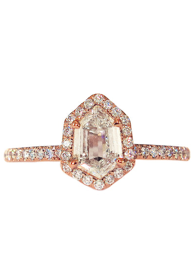 Cassia Hexagon Diamond Halo <br/> Engagement Ring