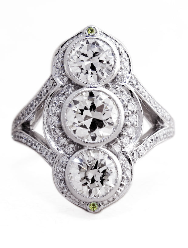 Charlotte Vertical Three Stone Diamond Ring in 14k White Gold by Dana Walden Bridal NYC