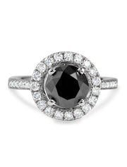 Delfine Black Diamond Engagement Ring in White Gold - Diamond Halo - Designed By Dana Walden Chin and Radika Chin for Dana Walden Bridal