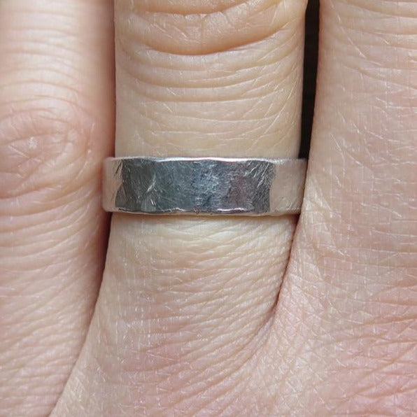 Unique Mens Wedding Ring Band Handmade in Platinum with Organic Textures On Hand