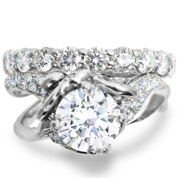 Violette Sculptural Diamond Engagement Ring & Constance Diamond Eternity Band in White Gold by Dana Walden Bridal