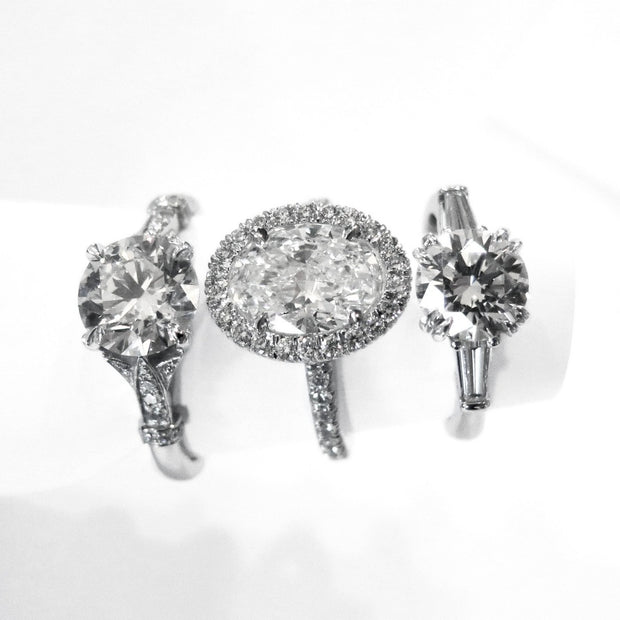 Diamond & Platinum Engagement Ring Trio - Custom Designed by Dana Walden Bridal in NYC