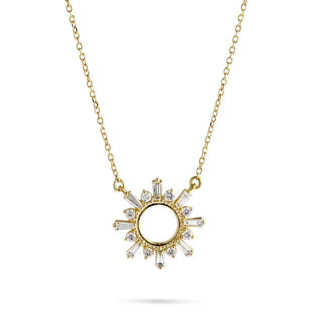 Baguette Diamond Starburst Necklace in Yellow Gold
