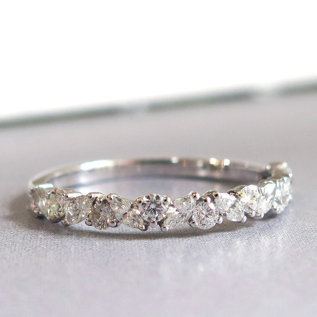 Unique Diamond Wreath Wedding Band Ring with Marquise Diamonds and Round Diamonds in Custom Platinum Setting