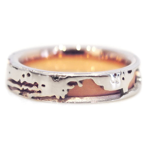 Dillon Mixed Metal Wedding Band in Rose Gold & Platinum - Nature Inspired by Dana Walden Bridal