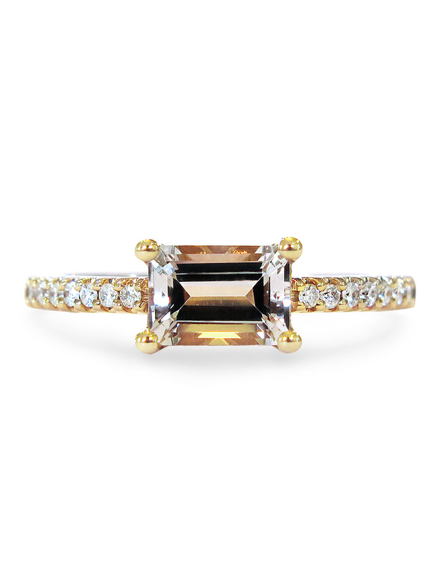 Dominica Emerald Cut Morganite <br/> Engagement Ring