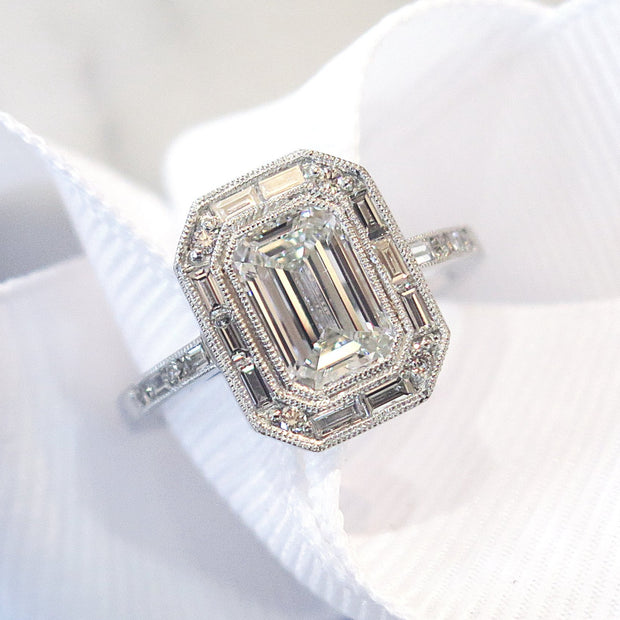 Custom Emerald Cut Diamond Engagement Ring, Halo Setting with Baguette & Round Diamonds in Platinum