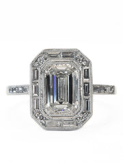 Elena 1.70ct Emerald Cut Diamond Halo <br/> Engagement Ring