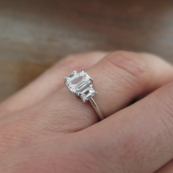 white gold co cut cushion stone stones wedding gabriel rings diamond three ring edlynn engagement