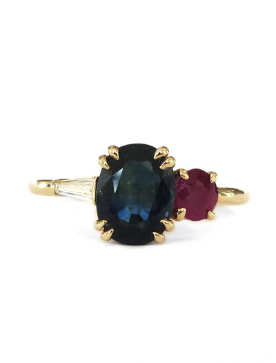 Unique sapphire cluster engagement ring with ruby & baguette accents in yellow gold - Fabiola