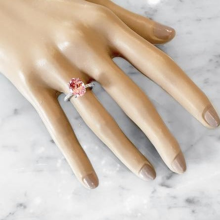 Padparadscha Sapphire Engagement Ring - Fanetta - Shown Worn On Hand - Dana Walden Bridal - NYC