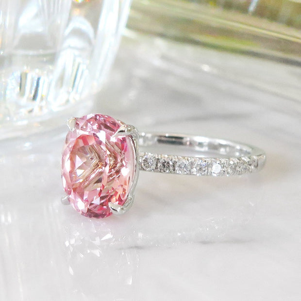 Unique Padparadscha Sapphire Engagement Ring - Fanetta - Side View - Dana Walden Bridal - NYC