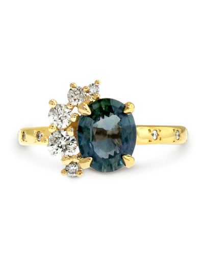 Unqiue Green Grey Sapphire Engagment Ring In Yellow Gold - NYC - Designed by Dana Walden Chin + Radika Chin