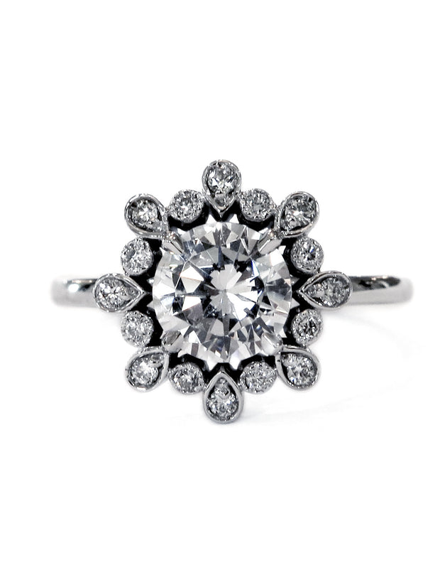 Floral engagement ring with conflict free diamonds in platinum custom nature inspired design - Fleurette