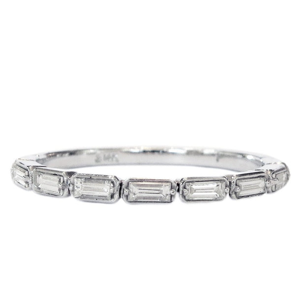 Fontaine Baguette Diamond Ring in White Gold - Thin & Delicate Wedding Band For Stacking