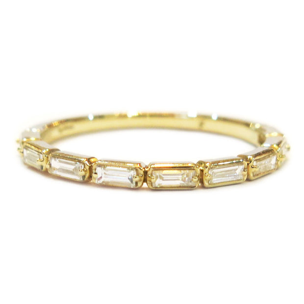 Fontaine Baguette Diamond Ring in Yellow Gold - Thin & Delicate Wedding Band For Stacking