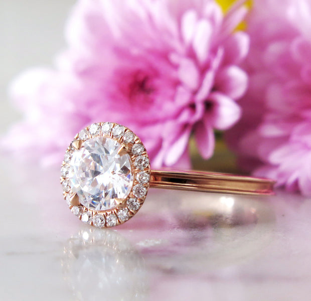 Rose gold halo engagement ring with beveled band and conflict free diamonds - Giselle